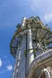 Refinery tower with blue sky Royalty Free Stock Photography