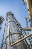 Refinery tower with blue sky Royalty Free Stock Photo