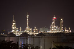 Refinery tower at night Royalty Free Stock Photo