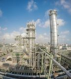 Refinery tower in wide lens Stock Photos