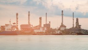 Refinery water front petrol factory. Industrial background stock photos
