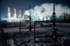 Refinery and wellhead Royalty Free Stock Photo