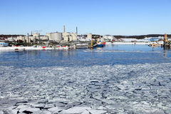 Refinery in winter scenery Stock Image