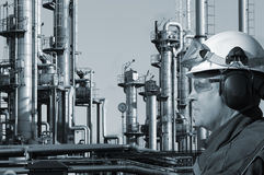 Refinery worker and oil industry Stock Photo