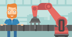 Refinery worker and robotic arm repairing pipeline Stock Image