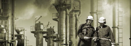 Refinery workers and industry Royalty Free Stock Photo