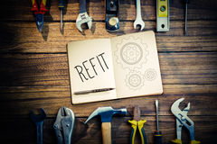 Refit against blueprint Royalty Free Stock Photo