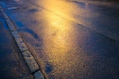 Refléter des lumières sur une route humide photos libres de droits