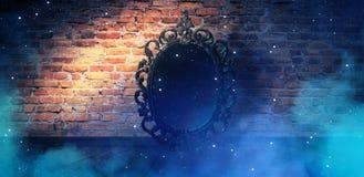 Reflétez raconter magique, de fortune et réalisation les désirs Mur de briques avec de la fumée épaisse, illustration libre de droits