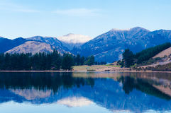 Reflaction of montains in Lake Taylor, Canterbury, South Island, New Zealand Stock Photography