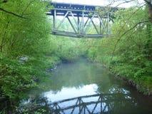 Reflecion of an iron arch bridge in a river. A reflecion of an iron arch bridge in a river Royalty Free Stock Image