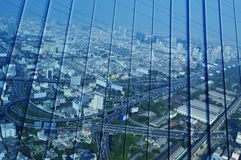 Reflect of aerial view of cityscape expressway and highway on me Stock Photos