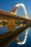 Reflect of the bridge of Lusitania stock photo