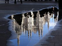 Reflect of Duomo Milano. Reflect in the water of the Duomo of Milano royalty free stock photo