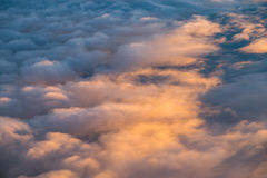 Reflect sunlight cloud. View from airplane window Stock Photography