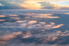 Reflect sunlight cloud. View from airplane window Stock Image