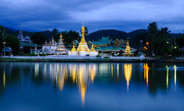 Reflect a Thai temple.. Measure for the ancient art of northern Thailand Royalty Free Stock Image