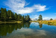 Reflect in the water of a lake. A scenic view of the lake Laune in Susa Vally -  Piedmont, Italy Stock Image