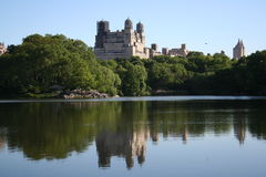 Reflected Buildings overlooking Central Park stock photo