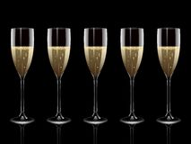 Reflected champagne flutes Royalty Free Stock Photo