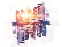 Reflected city on light background Royalty Free Stock Image