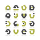Reflected elements. New set of modern abstract symbols isolated on white background Stock Photo