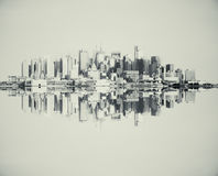 Reflected grey cityscape Stock Photography