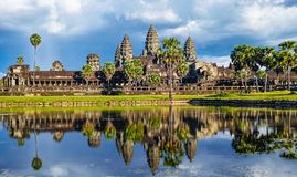 Reflected image of Angkor Wat. Siem reap, Cambodia royalty free stock photography