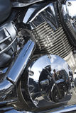 Reflected in motorcycle. Reflected in the chrome engine motorcycle Stock Photo
