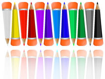 Reflected pencils collection with rubbers Royalty Free Stock Photography