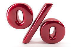 Reflected percent red sign on white background Royalty Free Stock Image