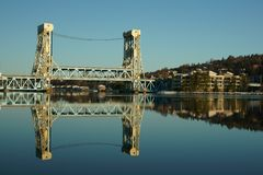Reflected of the Portage Lift Bridge in the Canal stock images