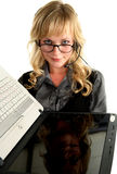 Reflected in the screen laptop blond business lady Royalty Free Stock Photography