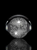 Reflected silver disco ball and headphones Royalty Free Stock Photography