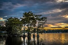 Reflected sky and trees at sunset over Lake Bruin Royalty Free Stock Image