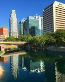 Reflected skyline of Omaha Stock Images