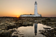 Reflected St Marys Lighthouse at sunset Royalty Free Stock Photo
