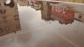 Reflected in the water of the homes of Venice stock video footage