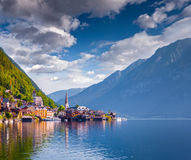 Reflected in the water surface Hallstatt Lutheran Church Royalty Free Stock Photo