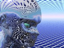 Reflecting Alien. Reflecting shiny alien on geometric background environment Stock Images