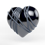 Reflecting, black latex, enamel, lacquer heart tied by metal rope. 3d rendering on white background stock images