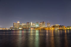 Reflecting Colors. A night scene of Boston City Royalty Free Stock Photography