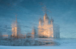 Reflecting the Holy Trinity Cathedral in the stood river water. Pskov, a reflection of the Cathedral of the stood river Stock Photo