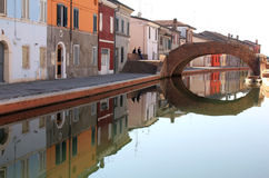 Reflecting Italian townview of Comacchio Royalty Free Stock Photos