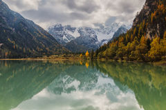 Reflecting in the lake with mountains. In the Dolomites Royalty Free Stock Images
