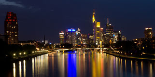 Reflecting lights on the skyline of Frankfurt Royalty Free Stock Image