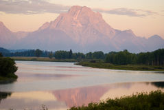 Reflecting Mountain. Mountain range at Grand Teton National Park Stock Photos