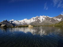Reflecting Mountain Lake In Saas Fee Stock Images