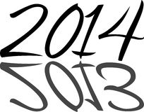 2014 reflecting 2013. The numbers 2014 reflecting the numbers 2013 with artistic black on white font Stock Photography