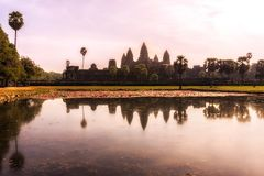 Reflecting Pond ankor wat. Angkor Wat Reflecting Pond at sunset Royalty Free Stock Photos